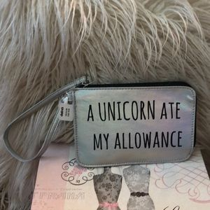 "Wristlet that says ""a unicorn 🦄 ate my allowance"""